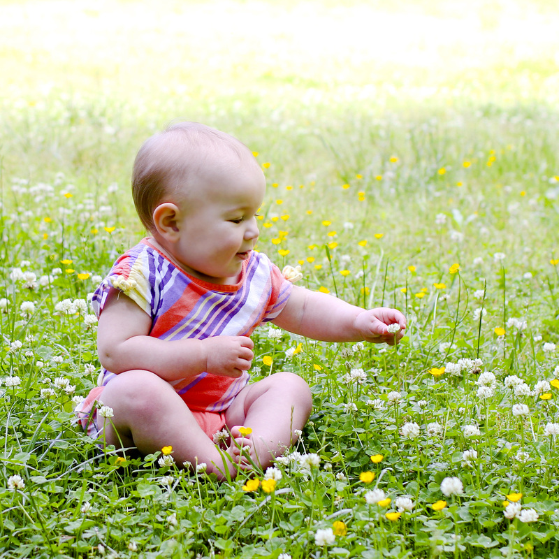 Portraits: 1-year-old in a flower meadow. Calm Cradle Photo & Design