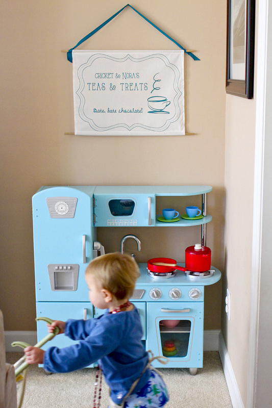 DIY play kitchen hanging sign inspiration: