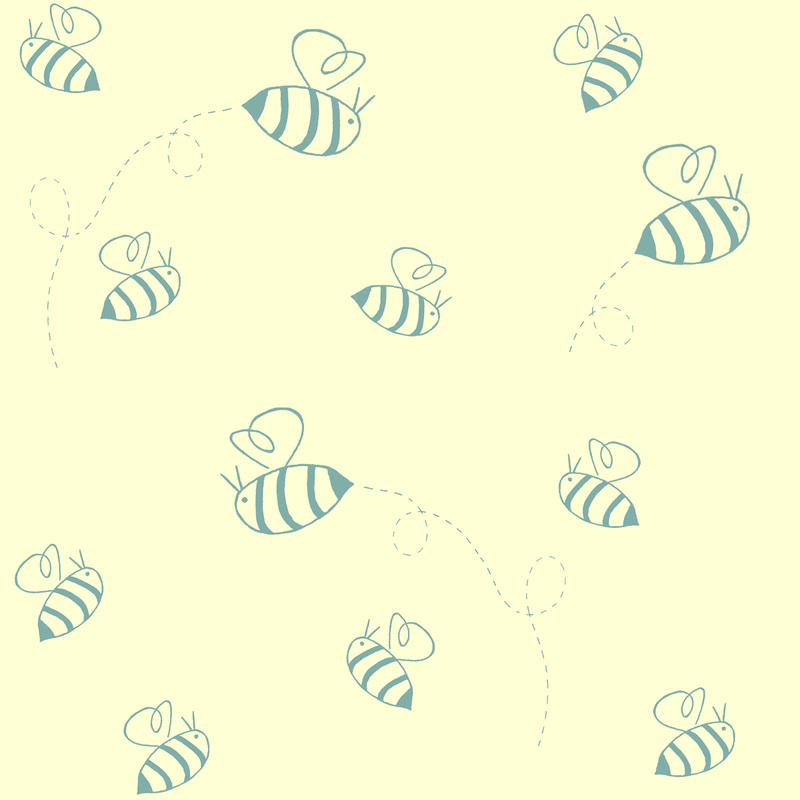 Small buzzing bees fabric (in custard and turquoise). By Calm Cradle Photo & Design. Available here: http://www.spoonflower.com/fabric/2162766