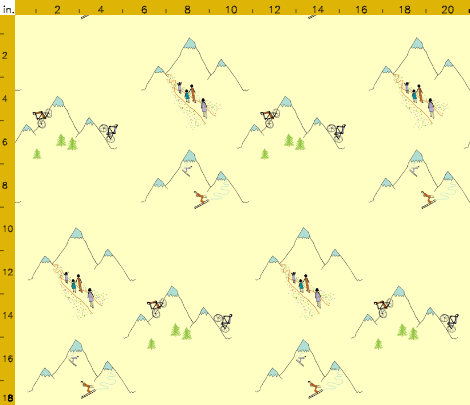 Mountain play in custard. Available in fabric, wallpaper and gift wrap. By Calm Cradle Photo & Design