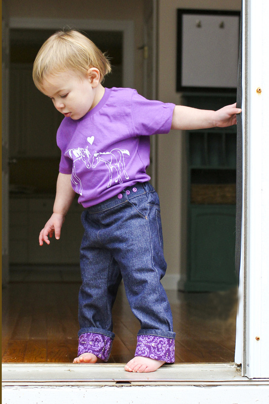 Purple/love pants by Project Pomona. Photo by Calm Cradle Photo & Design