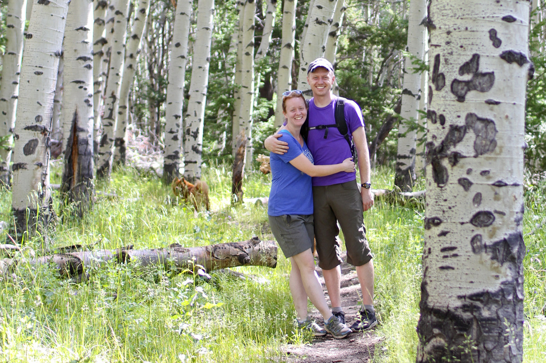 Newlyweds in a stand of aspen. Colorado. By Calm Cradle Photo & Design
