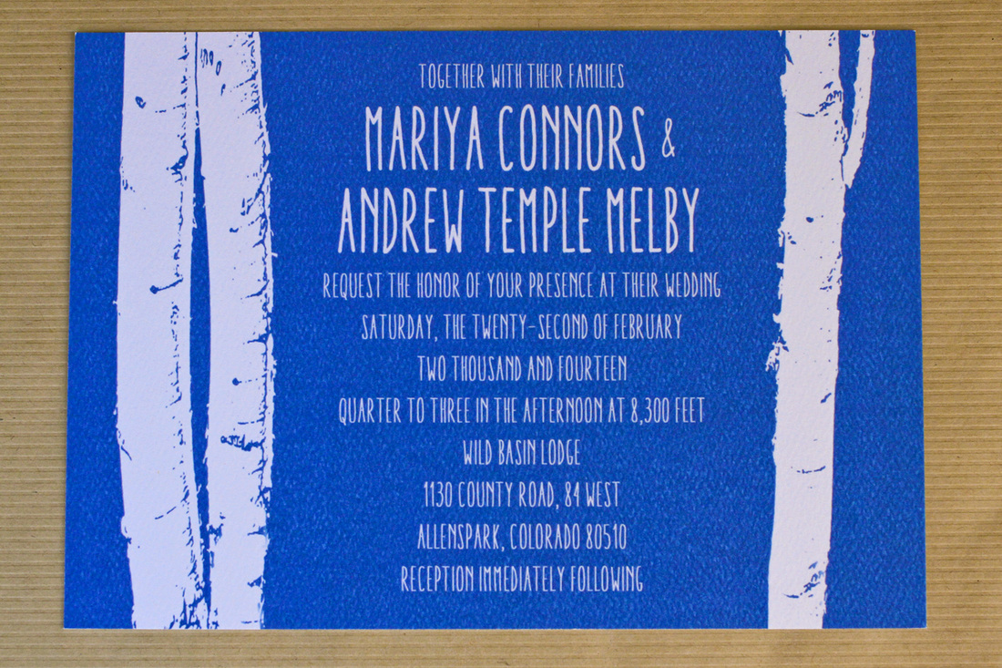 A winter mountain wedding: Blue aspen invitation suite. (With brown paper bag envelopes. By Calm Cradle Photo & Design