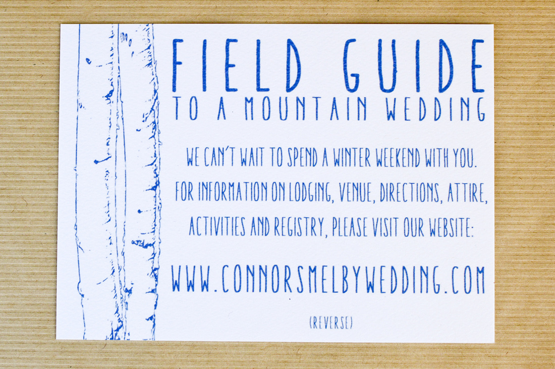 (Field guide to a mountain wedding.) A winter mountain wedding: Blue aspen invitation suite. (With brown paper bag envelopes. By Calm Cradle Photo & Design