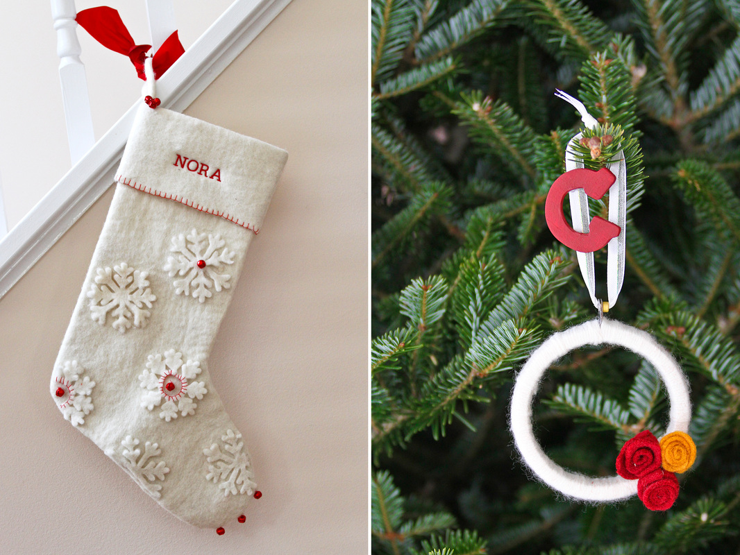 DIY: Embellished Christmas stocking. Personalized yarn wreath ornament. Calm Cradle Photo & Design