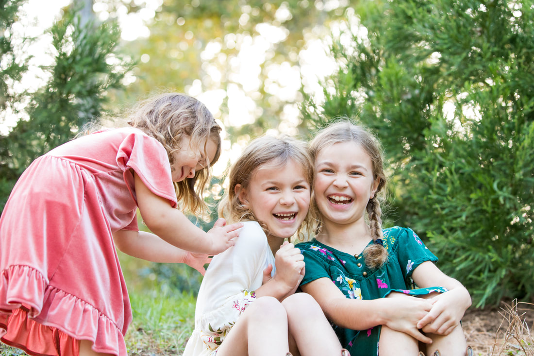 Holiday cards in pink and green: Seek wonder. Three sisters. Lifestyle portraits by Calm Cradle Photo & Design