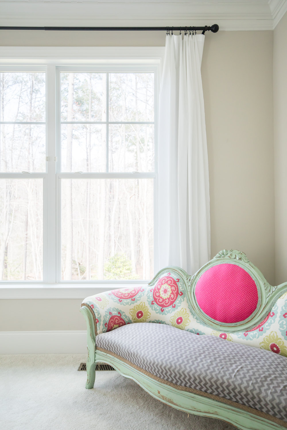 Gorgeous curtain panels for just $7 each! Such a great DIY idea. (Sofa by window in master bedroom.) By Calm Cradle Photo & Design
