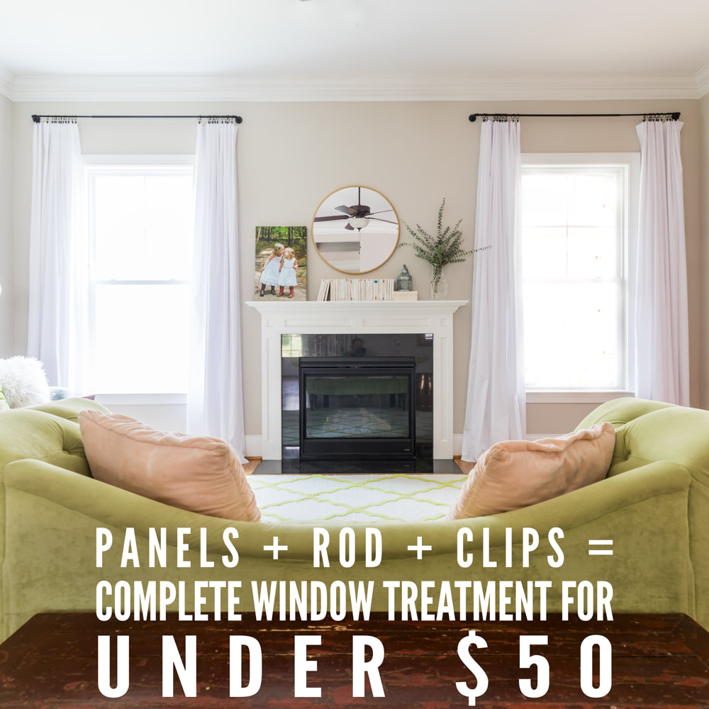 Rods + Clips + Panels = Total Window Treatment for Under $50. (DIY white curtains. Decor.) By Calm Cradle Photo & Design
