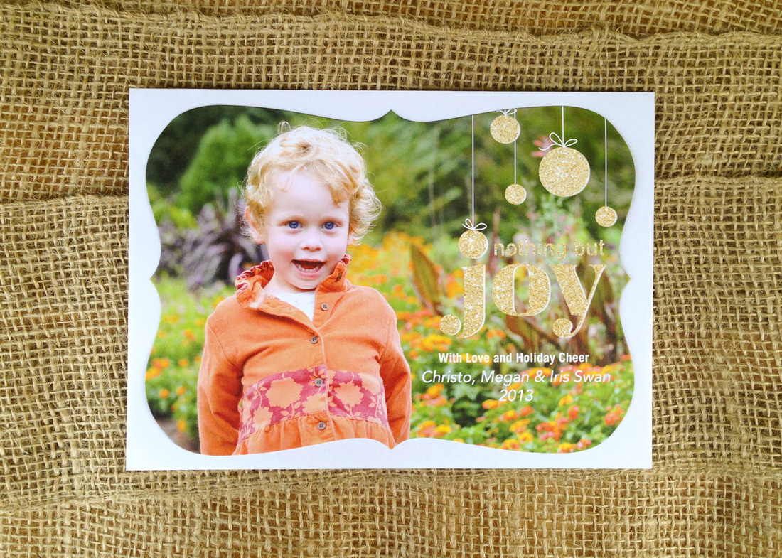 Holiday card portrait: Little girl in orange jacket at Duke Gardens. Photo by Calm Cradle Photo & Design