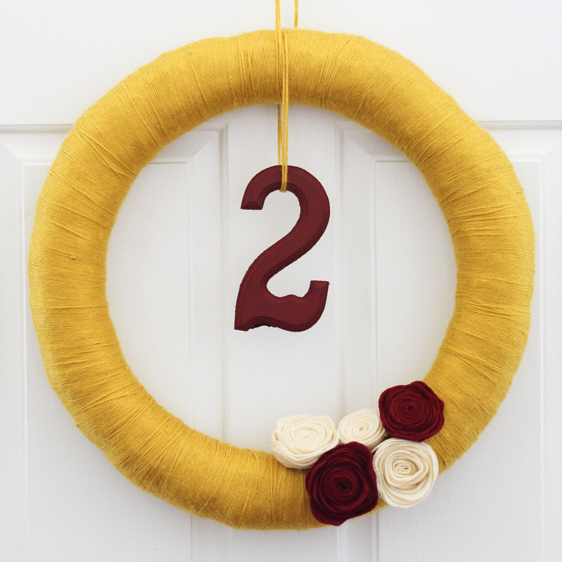 Yarn wreath with felt flowers and 2. Calm Cradle Photo & Design