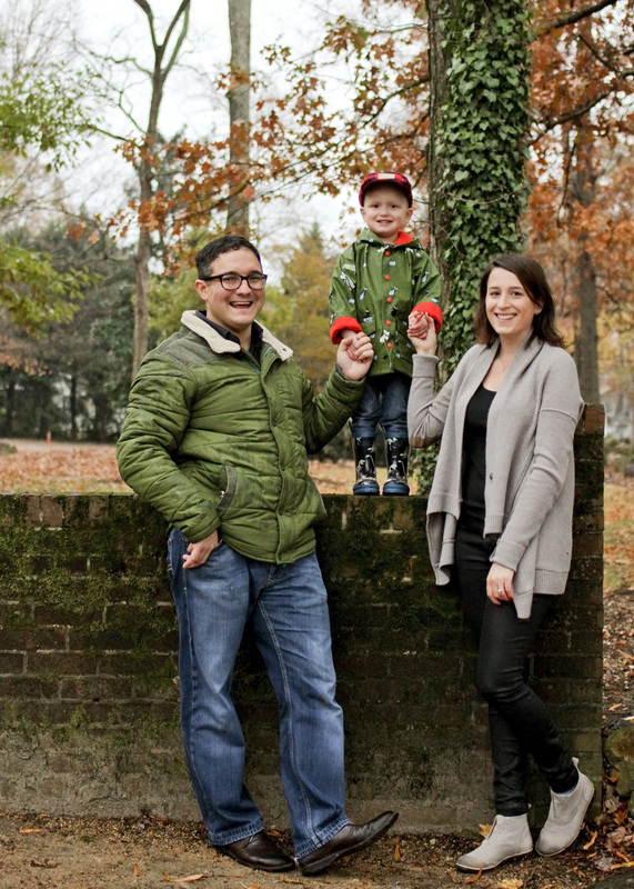 Portraits: Fall family session in the rain. Brick wall. Moss. Leaves. By Julia Soplop of Calm Cradle Photo & Design