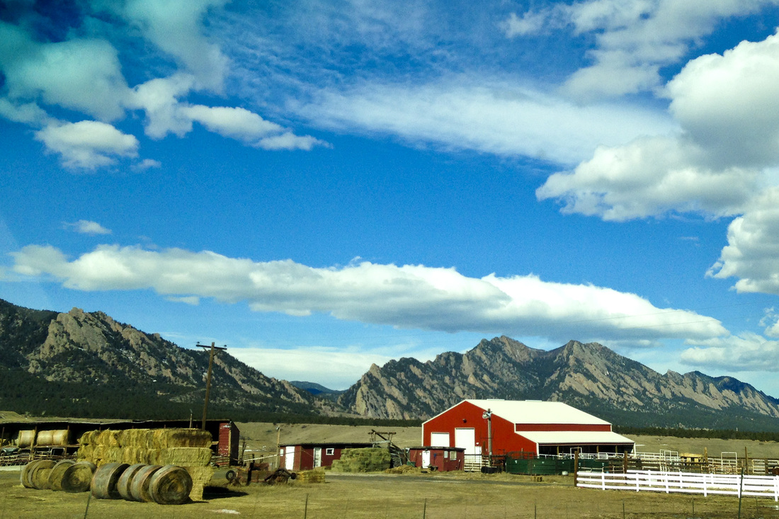Red barn. Ranch in the Rocky Mountains. Boulder, Colorado. By Calm Cradle Photo & Design
