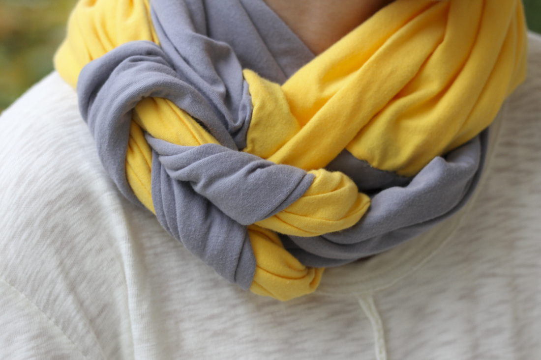 DIY braided scarf in fall colors (yellow and grey jersey). By Calm Cradle Photo & Design