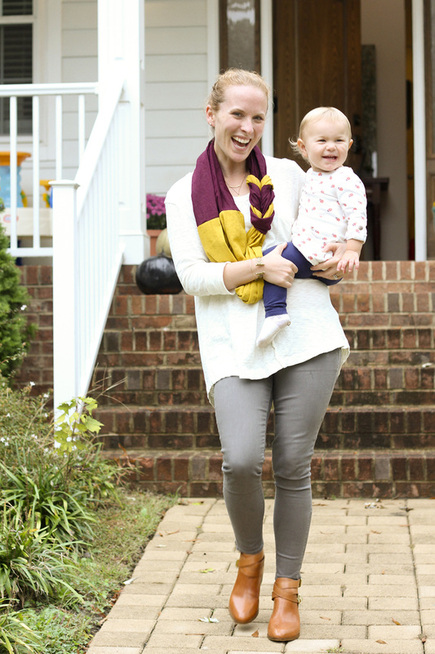 DIY braided scarf in fall colors (yellow and purple). By Calm Cradle Photo & Design