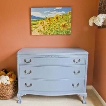 Blue painted dresser. Toddler bedroom tour. Calm Cradle Photo & Design