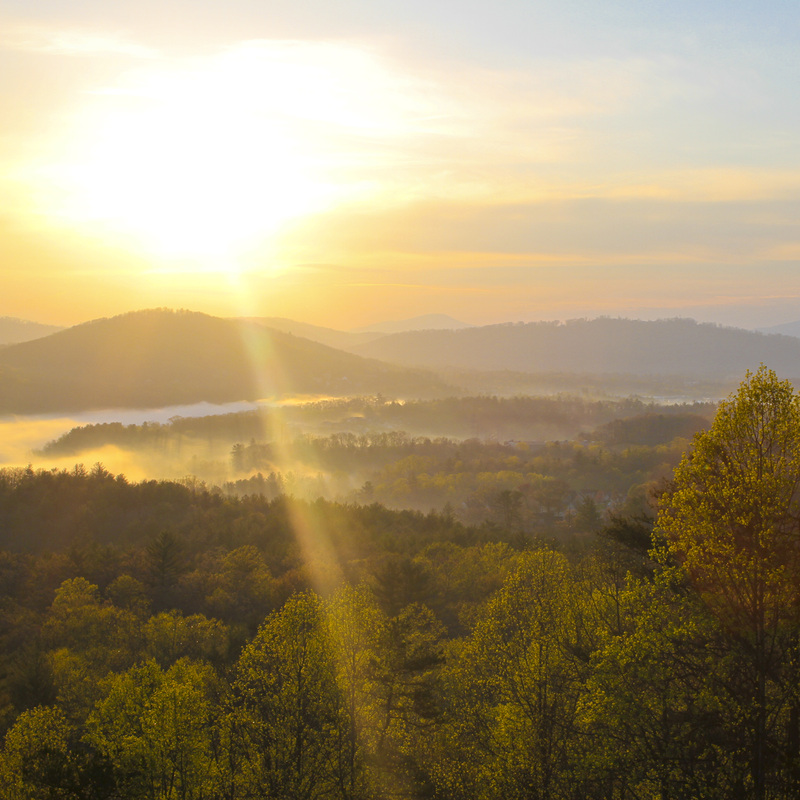 Easter sunrise over the Blue Ridge Mountains. Blue Ridge Parkway, Asheville, NC. Julia Soplop/Calm Cradle Photo & Design