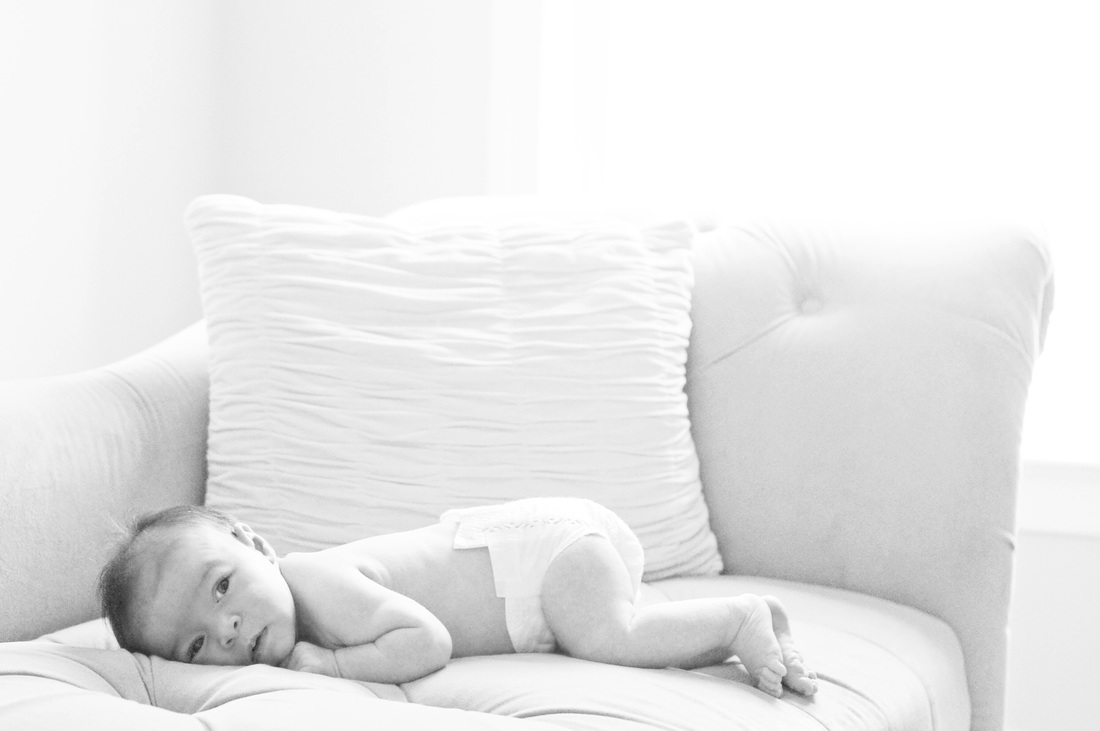 Lifestyle portraits: 1 month old in black and white. Photography by Calm Cradle Photo & Design. Chapel Hill, NC.