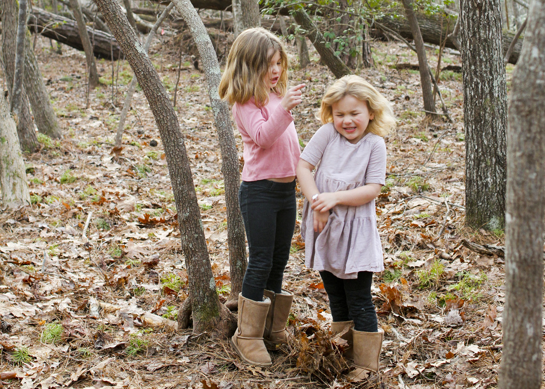 Portraits: Outtakes and pullbacks of the big sisters from my maternity session in the woods. By Calm Cradle Photo & Design
