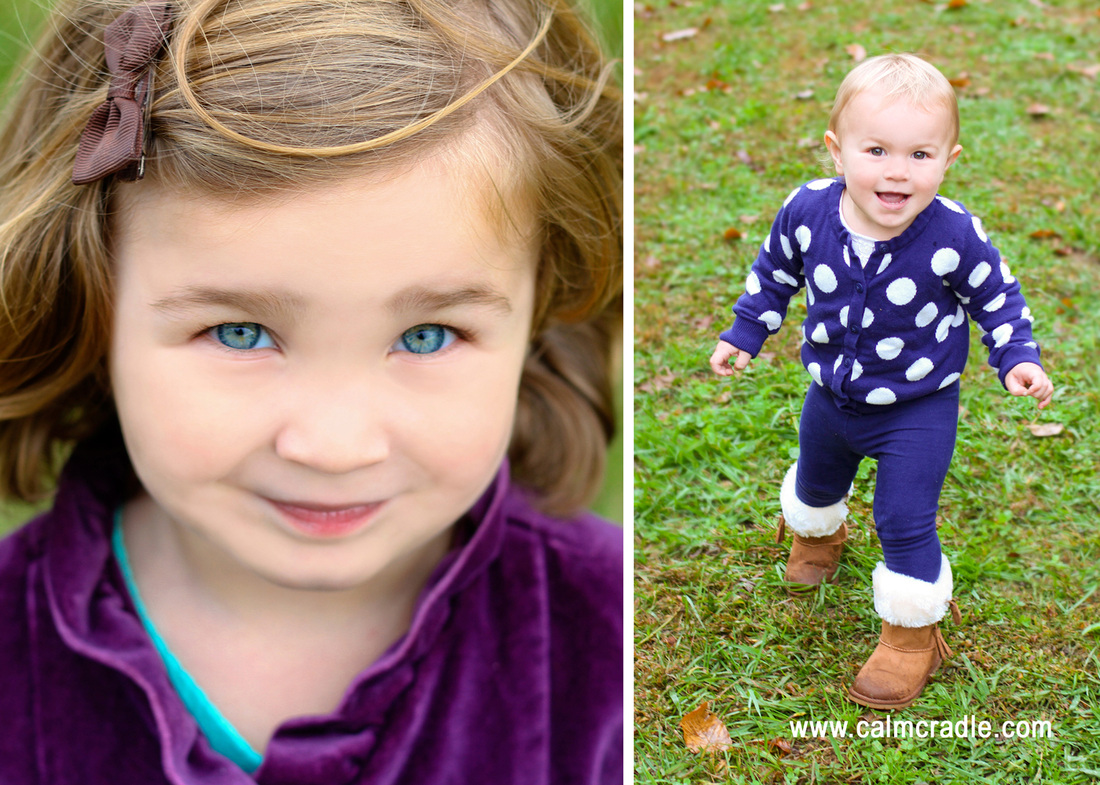 Holiday card portraits. Sisters in purple velvet and navy and white polka dots. Photography by Calm Cradle Photo & Design