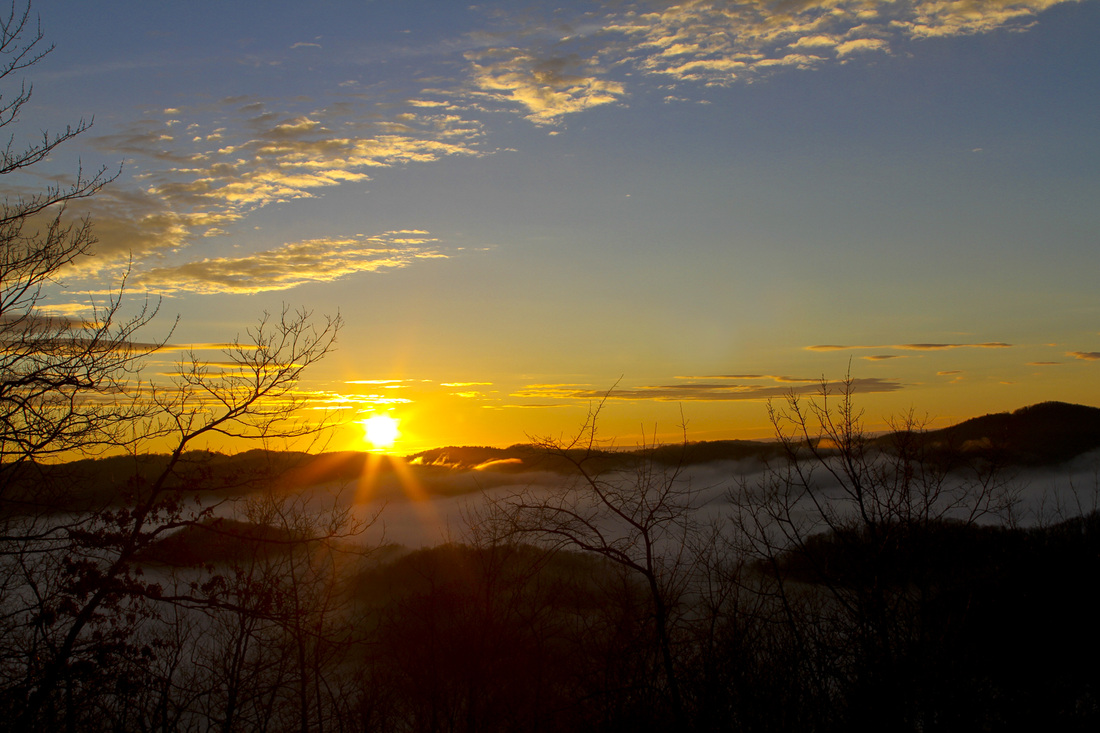 Winter sunrise over the Blue Ridge Mountains, NC. Calm Cradle Photo & Design