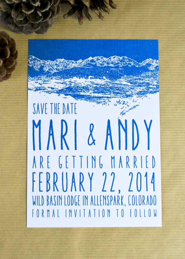 Save the date by Calm Cradle Photo & Design. Blue and white mountain stamp design. #savethedate #mountainwedding #winterwedding #stamp #blue #white #colorado