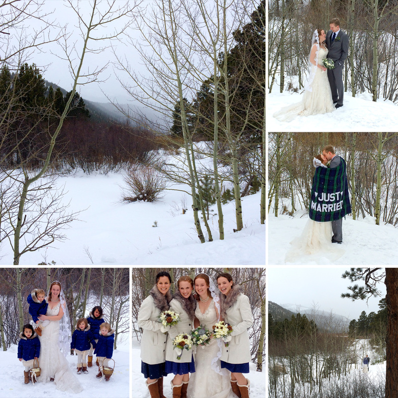 Bridal party in the snow at Wild Basin Lodge in Allenspark, Colorado. Calm Cradle Photo & Design