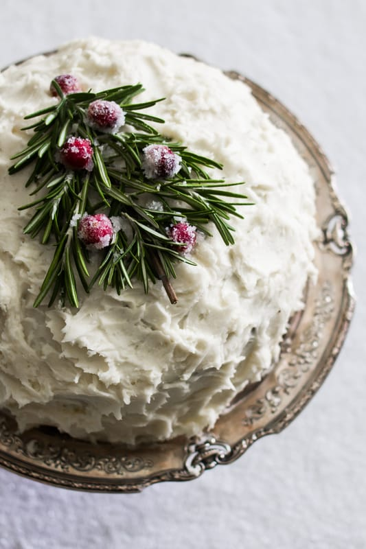 Pretty holiday home tour. Cake with rosemary and cranberry tree. (Christmas decor. Wreaths. Christmas tree. Mantel decorations.) By Calm Cradle Photo & Design
