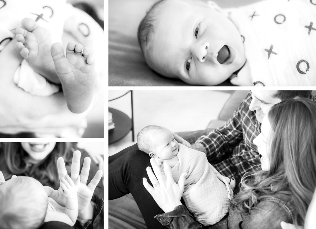 Lifestyle portraits: Black & white newborn session in a New York City Apartment. (NYC) By Calm Cradle Photo & Design (Chapel Hill, NC). Birth announcement design.